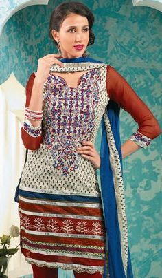 G3 Fashions Cream Maroon Cotton Party Wear Designer Embroidered Salwar Suit  Product Code : G3-LSA104829 Price : INR RS 2814