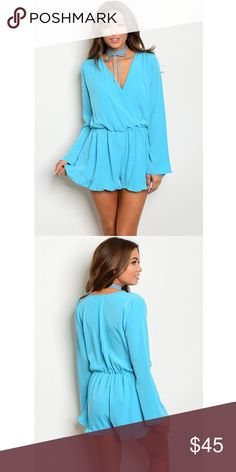 """New aqua ruffle romper . Brand new from my boutique  . Model is wearing the exact product  . Fabric content: 100% polyester  . Brand is Honey Punch which retails at Nasty Gal, ASOS, Pacsun, Urban Outfitters, etc.                Any questions? Don't hesitate to ask  ✨ Use the """"buy now"""" or """"add to bundle"""" feature to purchase ✨ ASOS Pants Jumpsuits & Rompers"""