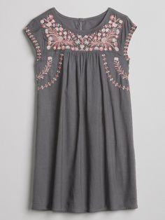 a13f67ba Embroidery Cap-Sleeve Dress gap Little Girl Dresses, Blue Dresses, Girls  Dresses