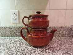 Nice vintage brown stoneware coffee pot- 3 pieces- coffee pot, top coffee drip attachment and lid- solid, great shape by HeathersCollectibles on Etsy