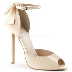 Pleaser Shoes Sexy-16 Nude Ankle Strap DOrsay Elegant DOrsay shoes in nude patent with peep-toe design, open sides, extra-thin ankle strap with adjustable length and large satin bow embellishment on heel which adds extra femininity to the overall http://www.MightGet.com/january-2017-12/pleaser-shoes-sexy-16-nude-ankle-strap-dorsay.asp