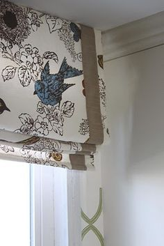 Bird Fabric with Burlap Ribbon ***Made with a series of wooden slats on the back; for easy folding when drawn, with no visible seams on the front. Blackout Lined Home Decor Kitchen, Diy Window Treatments, Window Decor, Roman Shades, Window Design, Home Decor, Curtains, Diy Window, Fabric Birds