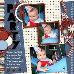 This little guy was always up for a good time!!  They are going to have to watch him when he gets to be a teen!! Jonah is a doll! Don't judge a book by it's cover!!  I used a very patriotic kit for a party layout!  It's LAND OF THE FREE from HOT FLASH DESIGNS found here:  http://scrapbird.com/designers-c-73/d-j-c-73_515/hotflashdesigns-c-73_515_558/land-of-the-free-p-16509.html?zenid=h2m76tl12j14tu9u7nk5obogu3 and a template from SPACE AND CLUSTERS VOL 1 from LDRAG DESIGNS