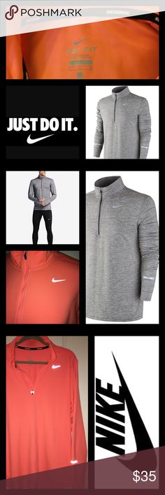 Nike Elements Men's Dri-Fit Running Shirt 🏃🏽 Reflective 1/2 Zip Nike Elements Running Shirt.  See photos for details of features including:  Thumb holes, reflective spots and ear bud loop on back. Nike Shirts Sweatshirts & Hoodies