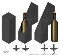 Box design boxes die cut Vectors, Photos and PSD files Wine Bottle Gift, Bottle Box, Wine Bottle Design, Paper Box Template, Bottle Packaging, Fragrance Parfum, Box Design, Packaging Design, Templates