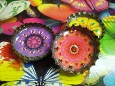 Pansy Recycled Bottlecap Magnets