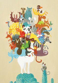 Greeting card Lama & animals by SurfingSloth