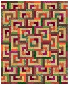 Quarter Log Cabin Quilt by Liz Katsuro. Free PDF pattern. Sized for baby, lap, twin, queen. Block is also called Bento Box, Lock and Chase. Jelly Roll friendly.