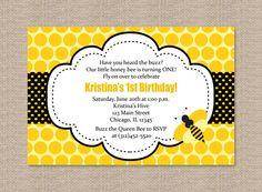 Polka Dot Bumble Bee Birthday Party Invitations. $15.00, via Etsy.