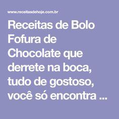Receitas de Bolo Fofura de Chocolate que derrete na boca, tudo de gostoso, você só encontra aqui!