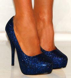 Bright Blue Glitter Court shoes Platforms High Heels   LittleMissGlam