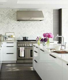 gray herringbone tiles