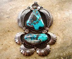 Vintage+Navajo+Sterling+Silver+Turquoise+Metallic+Matrix+Large+Pendant+Signed