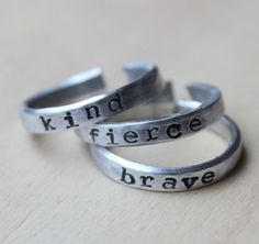 FREE SHIPPING. Set of 3.  Handstamped by threebirdsdesigns on Etsy, $20.00