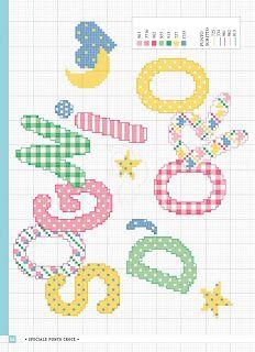 schemiapuntocroce.it - scarica schemi a punto croce e cartamodelli gratuiti per tutti: I migliori schemi a punto croce per bambine Baby Bibs Patterns, Bib Pattern, Cross Stitch Baby, Alphabet, Kids Rugs, Crafts, Stitch Patterns, Ideas, Home