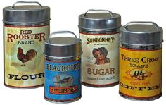 Vintage Canisters Set Coffee Tea Sugar Flour Retro Tin Metal Kitchen Canister | Collectibles, Kitchen & Home, Kitchenware | eBay!