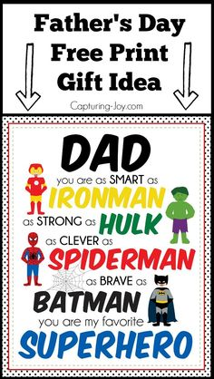 Superhero Father's Day gift idea. | This cute superhero printable would make a great gift idea for dad. Just print and frame or mount on wood! | http://Capturing-Joy.com