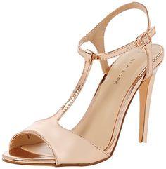 New Look Damen Peep-Toe Pumps Shalot, Goldfarben, Gr. 38 (UK 5)
