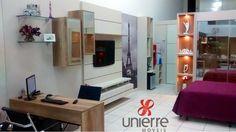 Painel TV e escritório - ambiente do showrrom da loja.