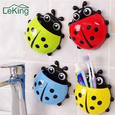 Cartoon Toothbrush Toothpaste Holder Suction Cup Hook Cute Ladybug Cute Multi Color Home Bathroom Storage Rack