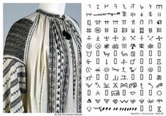 Traditional peasant costume continues to be a source of pride in Romania. Weaving and embroidery methods are still passed down from mother to daughter in some villages. The costumes of grandparents and older ancestors are valued and hoarded, to be brought out for special festivals and occasions.  The white blouse embroidered with black shown here incorporates neolithic Vinca script symbols from 6,000 years BC