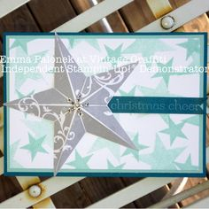 Stampin' Up! Christmas Star/Simply Stars Christmas Card using Smoky Slate, Pool Party and Island Indigo ❤ Created by Emma Palonek at Vintage Graffiti Handmade Boutique - Independent Stampin' Up!® Demonstrator www.facebook.com/vintagegraffiti