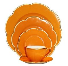 A classic pattern from Royal Limoges, Corolle Paprika dinnerware is rich shade of orange. Each piece is highlighted by a thin gold filet. Orange Dinnerware, Orange Plates, Orange You Glad, Tea Pot Set, Creative Colour, Red Kitchen, Orange Crush, China Patterns, Kitchen Styling