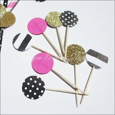 Our hand made party picks will add color and sparkle to appetizers, mini desserts or cupcake toppers. A mix of hot pink, gold glitter, black and white stripes and polka dots are perfect for bacheloret