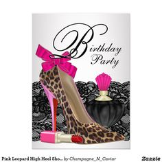 Pink Leopard High Heel Shoe Girly Birthday Party Card