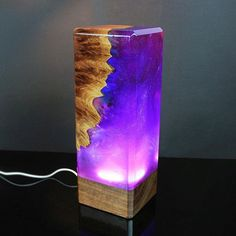Galaxy decor resin and wood decor ambient night light resin table decoration resin night light one of a kind decor unique night light Wood Resin, Resin Art, Resin And Wood Diy, Galaxy Decor, Galaxy Art, Unique Night Lights, Unique Lighting, Galaxy Lights, Resin Furniture