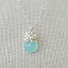 Aqua Bridal Necklace Pendant Beach Wedding Jewelry by BlueRoomGems, $94.00