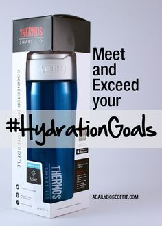 Meet and exceed your hydration goals with a water bottle that syncs to your iPhone. Set goals, keep track of sips and stay hydrated all day long with the Thermos Connected Hydration Water Bottle with Smart Lid. / A Daily Dose of Fit #AD
