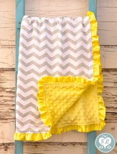 chevron and yellow baby blanket with ruffles @Jessica Sutton Chittenden  can you make this for me for baby #2? :)