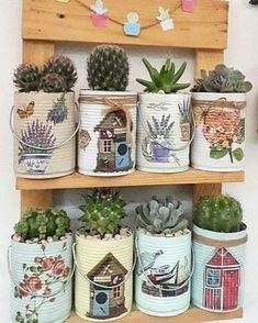 Tin Can Crafts, Diy Home Crafts, Metal Crafts, Garden Crafts, Jar Crafts, Arts And Crafts, Recycled Tin Cans, Recycled Crafts, Vasos Vintage