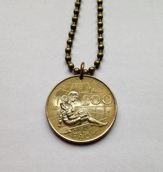 1980 Italy 200 Lire coin pendant charm necklace jewelry Women's Year FAO World Food Day Italian Lady girl grandmother motherhood No.001062 by acnyCOINJEWELRY on Etsy