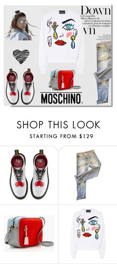 """""""Boutique Moschino Sweatshirt"""" by iv-gromova ❤ liked on Polyvore featuring Dr. Martens, Each X Other, Moschino, J.Crew, Boutique Moschino and Sweatshirt"""