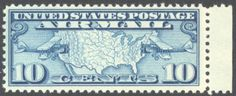 US C7 Stamp Map & Mail Planes Airmail postage stamp
