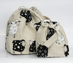 Set of 2 Lucky Sheep Knitter Project Bags