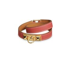 Rivale Double Tour Double-loop bracelet in sanguine Swift calfskin, gold-plated clasp (wrist size: 17 cm)