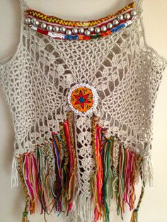 Handmade crochet boho top decorate with vintage by PadMa88 -  on Etsy - what a bold design. Intricate stitches and great colour work