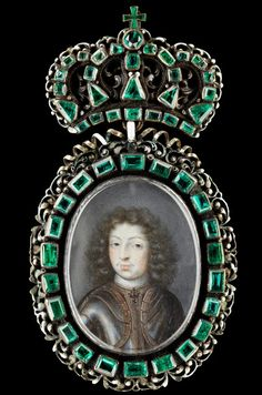 Badge: Miniature Portrait of King Charles XI of Sweden (1655-1697) ca 1672-1675, Materials  emeralds, gold, enamel, ivory.