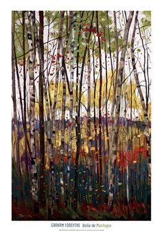 Cool watercolor forest scene.