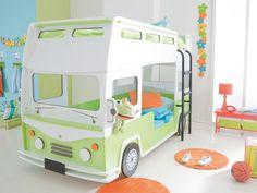 BUSSIG Våningssäng Vit/Grön - Sängar - Barnmöbler - Inomhus