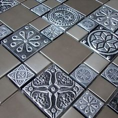 Roman Pattern Stainless Steel And Pewter Accents Metal Tile - Kitchen Backsplash/Bathroom Wall/Home Decor/Fireplace Surround Mosaic Floor Tile, Metal Mosaic Tiles, Mosaic Tiles, Accent Tile, Stainless Steel Kitchen Backsplash, Wall Tiles, Metal Tile, Tuscan Kitchen, Decorative Tile