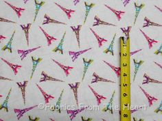 Paris France French Eiffel Towers Toss on White BY YARDS TT Cotton Fabric