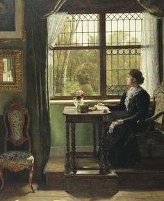 "poboh: ""Interieur mit junger Frau am Fenster / Interior with young woman at the window, August Johann Holmberg. Germany (1851 - 1911) """
