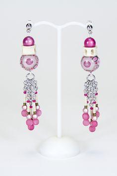 Boucles d'oreilles roses vertèbres #gadhorre #jewelry