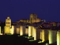 Ávila, Spain, at night