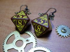 k8 steam punk dice earrings steampunk gear dice jewelry brown bronze yellow geek rpg nerd cog clock work