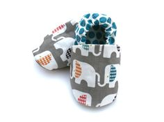 Organic Cotton Elephant Baby Shoes- Eco Friendly Clothing Unisex Gray and Teal -  0 3 6 12 18 months - Baby Clothes Gift for Baby on Etsy, $28.00